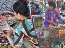 Pedagang sedang menyembelih tikus di  pasar hewan di Dong Thap, Vietnam (kiri), dan penjual yang menjual tikus hidup di dalam kandang (kanan). Kredit foto: WCS / Viet Nam (Huong, dkk, 2020)